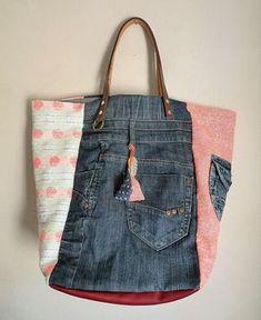 Coral de neón rosa bolso de jean reciclado y étnicos /
