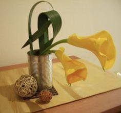 Yellow lilies Ikebana