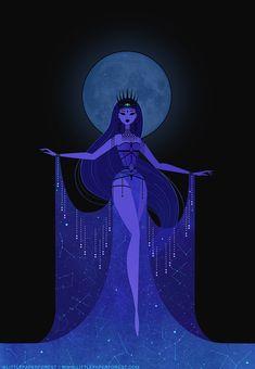 Greek Goddess Art, Greek Mythology Art, Greek Gods And Goddesses, Greek Goddess Tattoo, Black Goddess, Moon Goddess, Cartoon Kunst, Cartoon Art, Art And Illustration