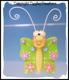 Becky's Polymer Clay Springtime Butterfly by clayfulcreations