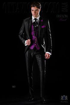 Costume de mariage slim noir avec revers de pointe 6656d2b8097