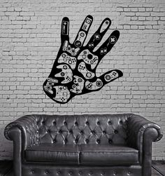 Gamer Hand Wall Decal Video Games Play Room Boys Vinyl Stickers Man Cave Decor (ig2531)