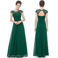 Floor Length Chiffon Bridesmaid/Prom Dress --- Dark Green Cap Sleeves