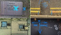What do those squiggles on the pavement actually mean? By Laurence Cawley BBC News Street Graffiti, Street Art, Road Markings, Water Company, Pavement, Symbols, Urban, Drawings, Inspiration