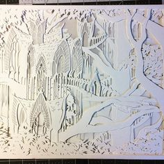 All of the layers for Lothlorien are cut out and ready for assembly and lights today! I can't wait to see how this piece looks all lit up! #paperart #papercut #handcut #workinprogress #lothlorien #lotr #lordoftherings