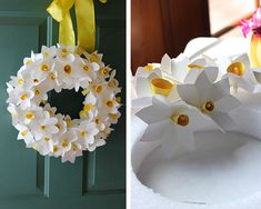 Craft a bouquet of daffodils for your spring wreath How To Make Paper Flowers, Paper Flowers Diy, Diy Paper, Easter Crafts, Crafts For Kids, Paper Flower Wreaths, Papier Diy, Blue Lotus Flower, Fleurs Diy