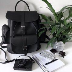 Bag: black bag, american apparel, sunglasses, phone cover, backpack, grunge, black, minimalist, velvet backpack, leather, urban outfitters, black backpack, packpack, cute bag, home accessory - Wheretoget