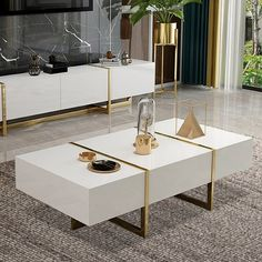 Rectangular Coffee Table White Coffee Table with Drawers Table with Storage Gold Metal Coffee Table With Drawers, Black Coffee Tables, Brass Coffee Table, Coffee Table Design, White Coffee, Modern Coffee Tables, Center Table Living Room, Table Decor Living Room, Glam Living Room