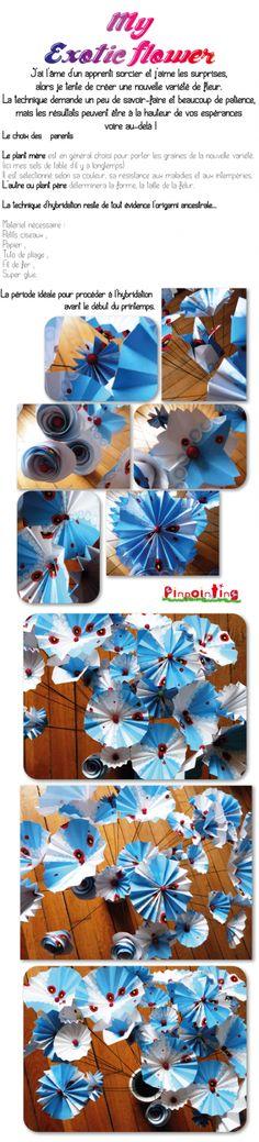 fleur, papier, origami, bouquet, pinointing