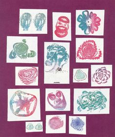 "Bruno Munari, ""Roses In The Salad,""1983. Stamps issued from salad. © Bruno Munari. Courtesy Corraini Edizioni."
