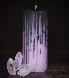 lavender dripped candle whimsical candle teen witch candle