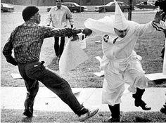 A K.K.K. member being 'manhandled' by an antifascist