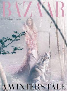 Josephine le Tutour on Harper's Bazaar Magazine UK January 2017 Cover