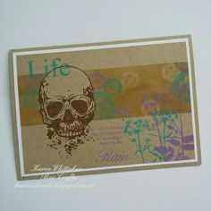The fabulous Skull stamp set by Bee Crafty, combined with the beautiful Ground Elder.   #beecraftystamps #skull #groundelder #kraft #distressoxides #stamps #stamping #card #creative #craft #ilovetocraft #creativity #karenzkardz