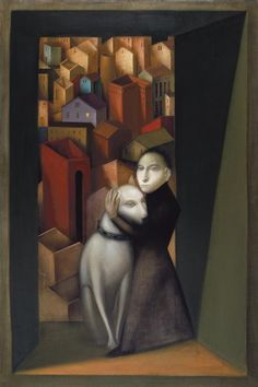 "Dunjic Vladimir - ""The Red City"" Acrylic on canvas. Gmunden Austria, Persona Feliz, Dog Art, Medium Art, Figurative Art, Art Images, Rose, Fantasy Art, Art Gallery"