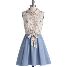 ModCloth Mid-length Sleeveless A-line Flautist and About Dress (€40) ❤ liked on Polyvore featuring dresses, modcloth, blue, apparel, fashion dress, blue dress, sheer shirt dress, collared shirt dress, blue a line dress and sleeveless shirt dress