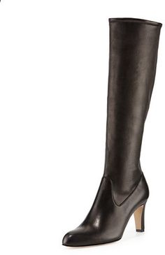 Manolo Blahnik Pascaputre Leather Tall Boot, Black