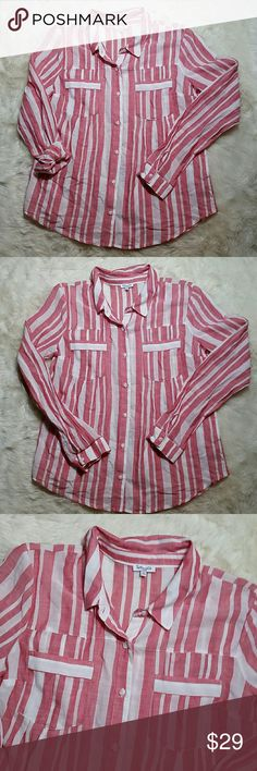 "Splendid Striped Button Down Blouse Size Large Splendid Striped Button Down Blouse Size Large. Light weight red and white striped blouse. Collared Button down. Super cute with rolled sleeves. Semi sheer, requires a cami for full coverage. Pre-owned in great condition with no rips, holes, tears or stains.   Pit to Pit 20"" Top of shoulder to bottom hem 28"" at center longest Splendid Tops Button Down Shirts"