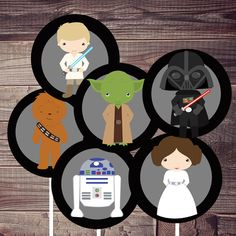 INSTANT DOWNLOAD:  star wars birthday cupcake toppers (or two inch stickers), digital printable, PDF and jpeg file included.