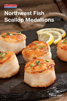 Enjoy scallops fresh out of the pristine Atlantic Ocean delivered directly to your home. After being sustainably harvested, the freshly caught scallops are then pressed together to form a plump medallion with the perfect size to impress your dinner guests. Having a distinct sweet flavor, these scallops are recommended to be sautéed in your favorite sauce and served as a delicious main course. Northwest Fish's U6 Scallop Medallions come from MSC-certified waters. Find more ideas at… Atlantic Ocean, Scallops, Costco, North West, Healthy Eats, Tasty, Fish, Dinner, Sweet