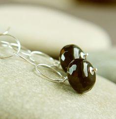 Long Black  Earrings     Sterling Silver     Onyx by hildes, $28.00