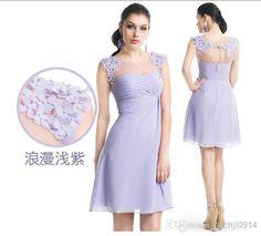 2014 Knee Length Flower Beaded Chiffon Bridesmaid Dress Bridesmaid Dress   Buy Wholesale On Line Direct from China