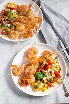 This Cajun Shrimp Skewers with Corn Salad is an easy and practical summertime BBQ dish for lunch or dinner. This is a gluten-free dish, which takes only 15 minutes to be ready. Healthy Summer Recipes, Lunch Recipes, Free Recipes, Cooking Recipes, Seafood Dishes, Seafood Recipes, Seafood Meals, Shrimp Skewers, Healthiest Seafood