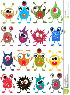creatures multi Seamless Monster Pattern Stock Photo - Image: just for the monster faces. Art For Kids, Crafts For Kids, Arts And Crafts, Cute Monsters, Monster Art, Applique Patterns, Art Plastique, Elementary Art, Baby Quilts