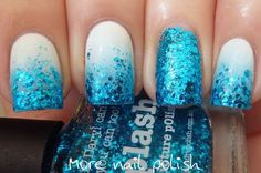 White Polish Coar with Bright Blue Sequins Manicure.