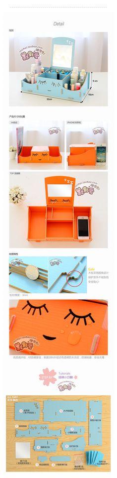 Moda lindo Smiley escritorio de madera caja de almacenamiento de cosméticos con espejo organizador de escritorio para cosméticos y de la joyería en Cajas y Papeleras de Almacenamiento de Casa y Jardín en AliExpress.com | Alibaba Group