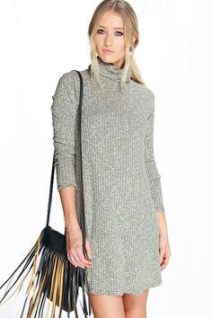 boohoo Brooke Cowl Neck Rib Knit Swing Dress