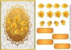 Deep Yellow Roses In A Lace & Gold Frame