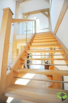 StairBox Oak, chrome and glass open plan staircase