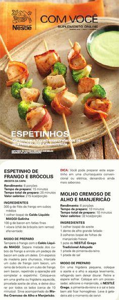 #Espetinho de #Frango e #brócolis com #molho #cremoso de #alho e #manjericão.