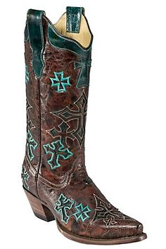Corral Ladies Whiskey Marble Brown w/ Turquoise Crosses Snip Toe Western Boot