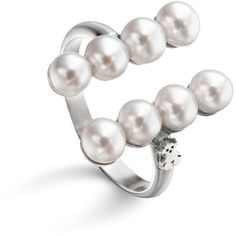 Tous Cultured Freshwater Pearl Ring (725 GTQ) ❤ liked on Polyvore featuring jewelry, rings, silver, tous ring, tous jewellery, cultured pearl jewelry, cultured pearl ring and fresh water pearl ring