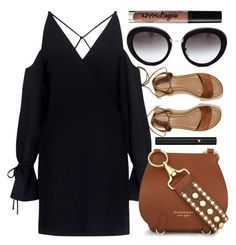 """""""Lake Walk"""" by smartbuyglasses-uk ❤ liked on Polyvore featuring Hollister Co., Prada, IRO, Burberry, NYX, Lancôme, black and brown"""