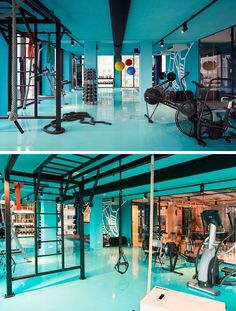 In this modern hotel, guests at the hotel are able to use the bright blue gym and workout space that's fully equipped with all of the equipment you could possibly need, including weights, machines, balls, and ropes.