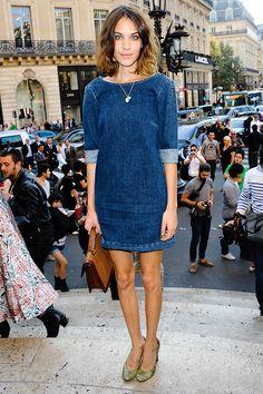 Alexa Chung denim shift dress Stella Mc