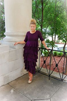 Modest Modern Apparel | Wedding Fashion, Bridesmaid Dresses, Ruffles, Lace, Autumn, Plum, Purple | Dreaming in Vintage Dress in Plum
