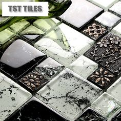 New arrival black glass mosaic tile resin flowers clear white kitchen backsplash tiles ideas bathroom wall mirror designs 11SF-in Mosaics fr...