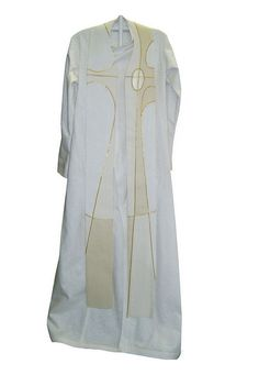 White with gold embellishments.