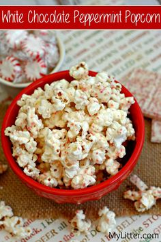 This White Chocolate Peppermint Popcorn Recipe is a fun and easy snack.  Peppermint is always a nice pop of crisp flavor to holiday themed treats, and white chocolate balances it well with that creamy flavor you expect.  This is such a fun treat to make with the kids anytime, but especially during the holidays!