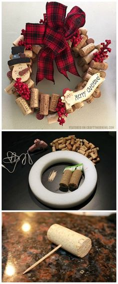 Wine cork christmas wreath craft to make! Adorable to hang up on your door for the holidays cork christmas wreath craft to make! Adorable to hang up on your door for the holidays. Wreath Crafts, Christmas Projects, Crafts To Make, Holiday Crafts, Christmas Crafts, Christmas Decorations, Christmas Ornaments, Wreath Ideas, Snowman Ornaments