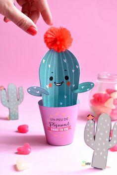 DIY cadeau saint Valentin a fabriquer soi meme Cactus en papier - paper cactus  Valentine day DIY