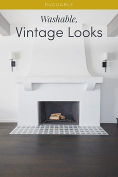 Discover chic, vintage rug designs that match perfectly with your decor or stand out on their own. Shop Ruggable's Farmhouse collection today! Fireplace Remodel, Fireplace Mantel Decor, Homeschool Rooms, Updating House, Farmhouse Rugs, Home Fireplace, Simple Living Room Decor, House Styles, Ruggable
