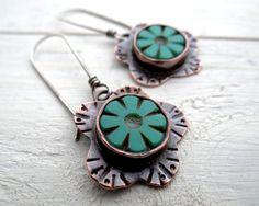 Funky Flower Earrings by Lost Sparrow Jewelry