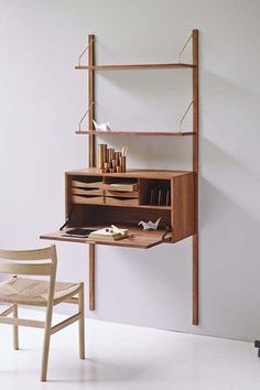 Contemporary secretary desk / walnut / oak / wall-mounted ROYAL SYSTEM by Poul Cadovius  DK3