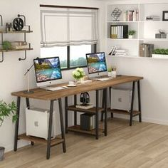Computer Desk Extra Long Two Person Desk with Storage Shelf Home Office BT Home Office Space, Furniture, Desk Storage, Home, Double Desk, Home Office Design, Home Decor, Office Design, Room