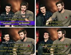 "Liam and Josh! I'm laughing so hard! ""Santa Claus, Professor Dumbledore"" hmmm I didn't know where to oin it in the harry potter board or hunger games ! Hunger Games Memes, Hunger Games Cast, Hunger Games Fandom, Hunger Games Catching Fire, Hunger Games Trilogy, Tribute Von Panem, Jenifer Lawrence, John Barrowman, Mockingjay"
